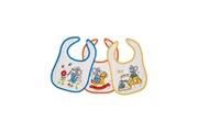 King Bear Lot de 3 bavoirs pour bébé velcro fond blanc - motif souris