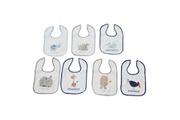 King Bear Lot de 7 bavoirs pour bébé bleu - motifs jours de la semaine