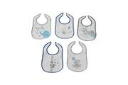 King Bear Lot de 5 bavoirs pour bébé gris et bleu - motif animaux