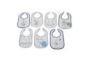 King Bear Lot de 7 bavoirs pour bébé doublure peva bleu - motifs jours de la semaine