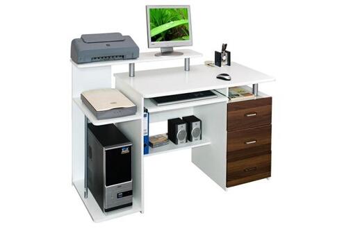 Hjh office bureau table informatique stella blanc noyer