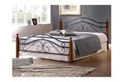 Pegane Lit design en metal noir, pieds de lit en bois malaisiens marron, dim: 140 x 200 cm -pegane-