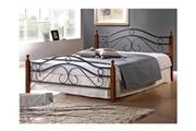 Pegane Lit design en metal noir, pieds de lit en bois malaisiens marron, dim: 160 x 200 cm -pegane-