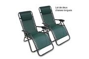 Storaddict Storaddict - transat en textilène de jardin, chaise longue inclinable, 165 x 112 x 65 cm, vert, avec coussin, textilène, pack de 2, charge maximale: 100 kg
