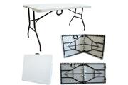 Storaddict Storaddict - table en plastique robuste, table pliante transportable, 152 x 76 cm, blanc, pliable en deux, matériau: hdpe