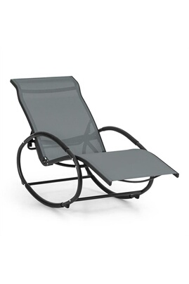 Blumfeldt Santorini Fauteuil Bascule Chaise Longue Aluminium Polyester Gris