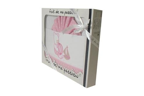 Fruit De Ma Passion Coffret parure de draps rose étoiles - motif ourson jouets