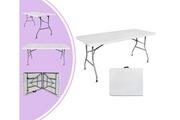 Leogreen Table d'intérieur et d'extérieur, table pliante, 180 x 74 cm, blanc, poignée: poignée de transport inclue gratuitement