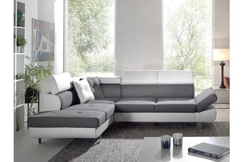 fadb43dbb18 Bestmobilier Lisbona - canapé d angle gauche convertible - l 252 x p 190cm  couleur - blanc   gris
