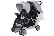 GENERIQUE Transport de bébés serie paris poussette à deux places acier gris et noir