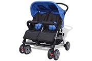GENERIQUE Transport de bébés famille washington poussette à deux places acier bleu et noir