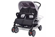 GENERIQUE Transport de bébés selection addis-abeba poussette à deux places acier gris et noir