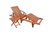 Vidaxl Ensemble de chaise longue et table bois d'acacia marron