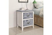 Vidaxl Table de chevet 2 pcs avec 2 tiroirs gris et blanc