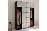 Vidaxl Cabinet modulable avec 14 compartiments noir et blanc 37x146x180,5 cm