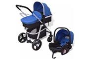 GENERIQUE Transport de bébés ligne banjul poussette 3-en-1 aluminium bleu et noir