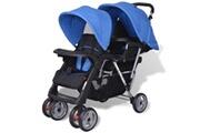 GENERIQUE Transport de bébés ensemble helsinki poussette à deux places acier bleu et noir