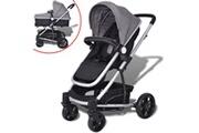 GENERIQUE Transport de bébés collection madrid poussette/landau bébé 2-en-1 aluminium gris et noir