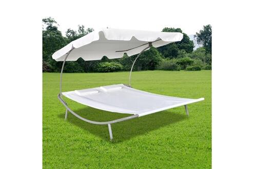 Vidaxl Chaise longue de jardin avec auvent et oreillers