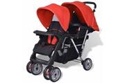 GENERIQUE Transport de bébés categorie suva poussette à deux places acier rouge et noir