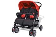 GENERIQUE Transport de bébés edition tallinn poussette à deux places acier rouge et noir