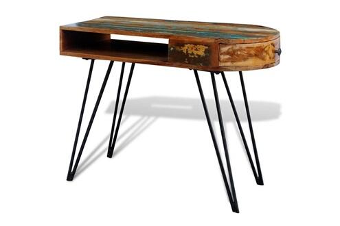 Vidaxl bureau en bois solide recyclé avec pieds broche en fer