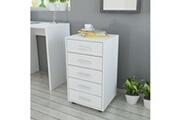 Vidaxl Caisson à tiroir de bureau avec roulettes et 5 tiroirs blanc