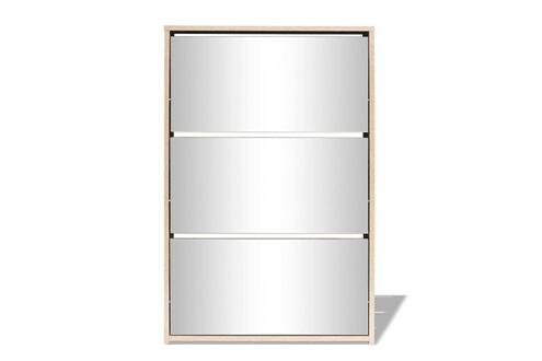 Vidaxl Meuble à chaussures 3 étagères miroir 63 x 17 x 102,5 cm chêne