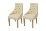 Vidaxl Chaises de salle à manger 2 pcs bois de chêne tissu crème