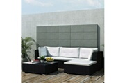 Vidaxl Salon de jardin 5 pcs avec coussins résine tressée noir