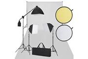 Vidaxl Kit studio fond blanc & éclairage