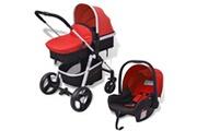GENERIQUE Transport de bébés gamme libreville poussette 3-en-1 aluminium rouge et noir