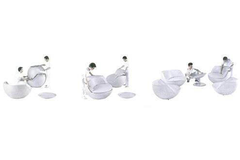 Aubry Gaspard Salon boule empilable avec coussins