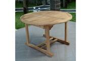 Teck'attitude Table de jardin en teck extensible ø 120 cm - roma