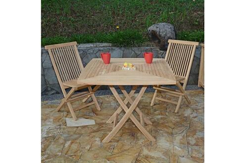 Teck\'attitude Salon de jardin en teck ecograde malo, table pliante carrée  90 x 90 cm + 2 chaises java