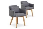 MENZZO Lot de 2 fauteuils scandinaves gybson tissu gris clair