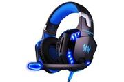 Hobby Tech Casque stéréo filaire g2100 pour gamer avec micro prise jack 3,5 led - bleu