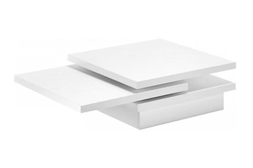 Comforium Table Basse Design En Bois Mdf Laqué Blanc Mat Composée