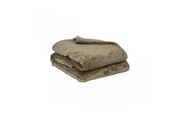 Couverture microflanelle taupe 100% polyester 280g 180x220