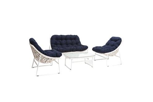 B008109 Salon de jardin résine tressée blanc et bleu foncé avec table basse  comfy