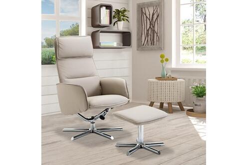 625a66ca27d0f7 HOMCOM Fauteuil relax inclinable pivotant avec repose-pied design contemporain  similicuir gris acier chromé 10