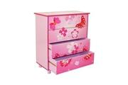 Décoshop26 Commode 4 tiroirs chambre enfant motif papillon rose 60x67x30cm ape06020
