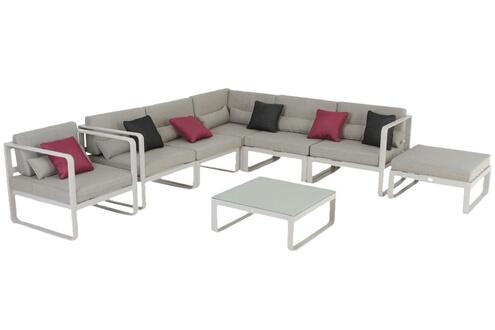Pegane Salon de jardin 7 places en aluminium coloris taupe -pegane-