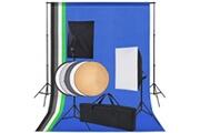 Vidaxl Kit de studio 5 toiles de fond colorées et 2 boîtes à lumière