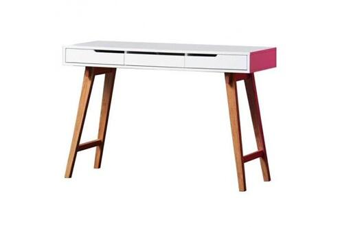 Aucune anneke bureau scandinave laqué blanc mat et pieds en bois