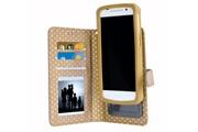 PH26® Ph26® etui housse folio or gold à pois dorés pour hp elite x3 en éco-cuir avec porte cartes, miroir et surpiqures apparentes