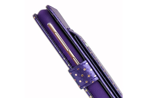 PH26® Ph26® etui housse folio violet à pois dorés pour acer liquid z5 duo en éco-cuir avec porte cartes, miroir et surpiqures apparentes