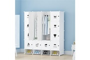 Bleosan Armoires etagères plastiques - penderie plastiques, meuble rangement 16 cubes modulables + 4 cubes chaussures, blanc