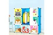 Bleosan Bleosan armoires etagères plastiques enfants rose, 9 cubes armoires meubles de rangement pour vêtements chaussures jouets cartoon