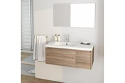 AUCUNE Girona ensemble meubles de salle de bain simple vasque + miroir l 90 cm - décor sonoma